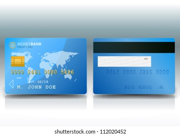 Credit Card Sample/ Illustration of a detailed credit card sample with both sides with an outlined world map background