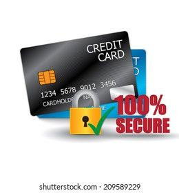 Credit Card & Secure Icon on White Background, Vector Illustration.