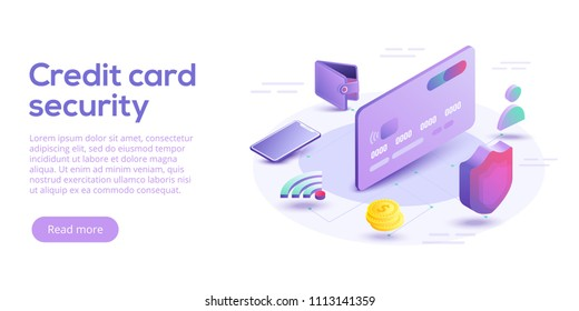 Credit card security isometric vector illustration. Online payment protection system concept with smartphone and wallet. Secure bank transaction with password verification via internet.