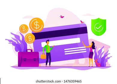 Credit card security, protecting financial savings. Monthly pay, salary, budget. Personal bank account, savings bank deposit, fixed rate loan concept. Vector isolated concept creative illustration