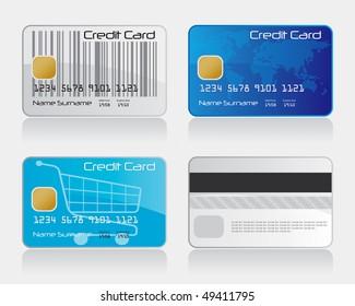 Credit Card Set 1 Vector Drawing