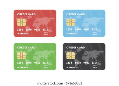 Credit card set. Things for buying and saving money.