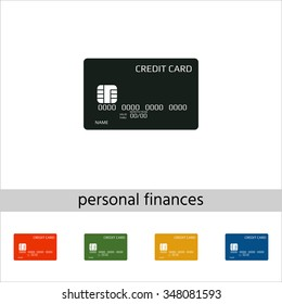 Credit card. Set of varicolored icons.
