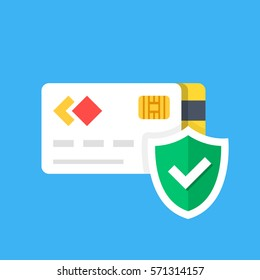 Credit card and shield with checkmark. Purchase protection, secure payment, protected transaction concepts. Premium quality. Modern flat design graphic elements. Vector illustration.