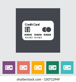 Credit card single flat icon. Vector illustration.