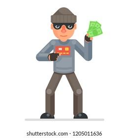 Credit card stolen money evil greedily thief rogue cartoon bulgar character flat design isolated vector illustration