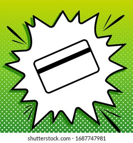 Credit card symbol for download. Black Icon on white popart Splash at green background with white spots. Illustration.