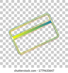Credit card symbol for download. Blue to green gradient Icon with Four Roughen Contours on stylish transparent Background. Illustration.