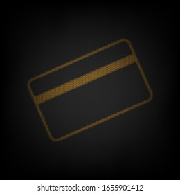 Credit card symbol for download. Icon as grid of small orange light bulb in darkness. Illustration.