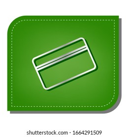 Credit card symbol for download. Silver gradient line icon with dark green shadow at ecological patched green leaf. Illustration.