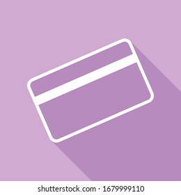 Credit card symbol for download. White Icon with long shadow at purple background. Illustration.