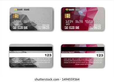 Credit Card template with low poly texture