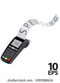Credit Card terminal Machine with long shopping receipt. Realistic vector illustration
