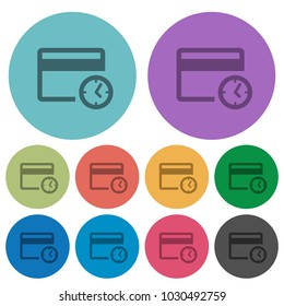 Credit card transaction history darker flat icons on color round background