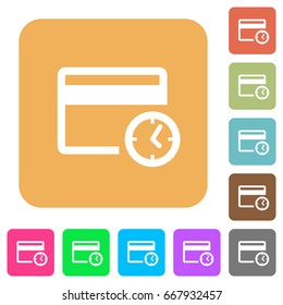 Credit card transaction history flat icons on rounded square vivid color backgrounds.
