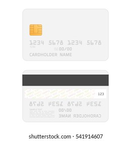Credit Card two sided realistic mockup. Clear plastic card template on white background. Business and finance concept.