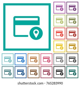 Credit card usage tracking flat color icons with quadrant frames on white background