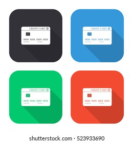 Credit card vector icon - colored illustration (gray blue green red)  with long shadow