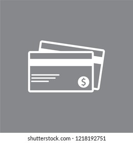 Credit Card Vector Icon Isolated on Gray Background