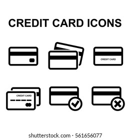 Credit Card Vector Icon Set Isolated on White Background