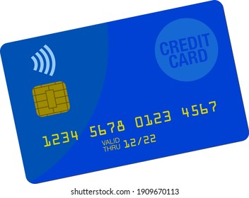 credit card vector illustration with chip and contacless payment symbol