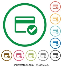 Credit card verified flat color icons in round outlines on white background