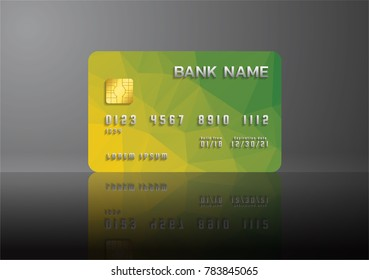 Credit card yellow and green on grey background with shadow. Abstract design for business.