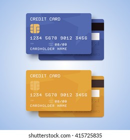 Credit cards illustration. Blue and gold cards with two sides.