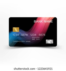 Credit cards. With inspiration from the abstract mix pink with black color on the white background. Glossy plastic style. Vector illustration design EPS 10