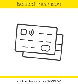 Credit cards linear icon. Thin line illustration.