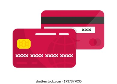 Credit Cards. Vector debit or credit card icon. Front and Back views. Contactless payment system or technology. Credit Card vector mockups. Paying or purchasing