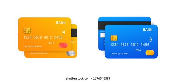 Credit Cards vector mockups isolated on white background.