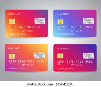 Credit cards vector set with colorful abstract trendy design background. Vector illustration EPS10