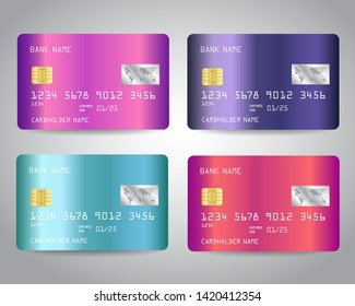 Credit cards vector set with colorful shiny metallic abstract trendy design background. Vector illustration EPS10