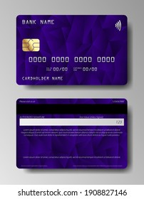 Credit cards vector set with colorful abstract trendy design. Set of Debit card, Credit card.