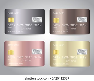 Credit cards vector set with gold, bronze, rose gold, silver metallic design background. Vector illustration EPS10