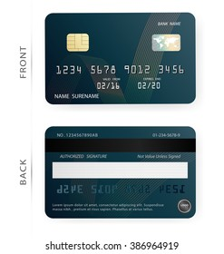 Credit debit card design template. Vector/Blue and abstract line patterns background. To adapt idea for commercial business advertising information financial and illustration.