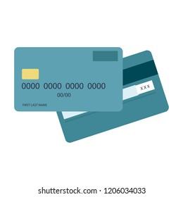 Credit Debit Card Flat Design. Vector Illustration. Credit Cart Icon.