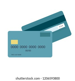 Credit Debit Card Flat Design. Vector Illustration. Credit Cart Icon.