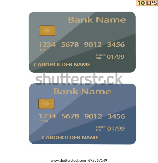 Credit or debit card mock-up. Bank card isolated on white background close-up. Realistic vector illustration.