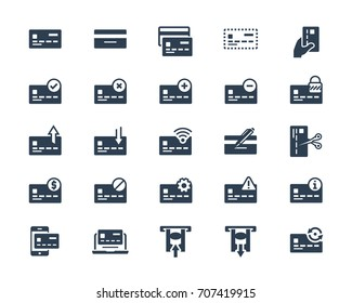 Credit or debit card related vector icon set