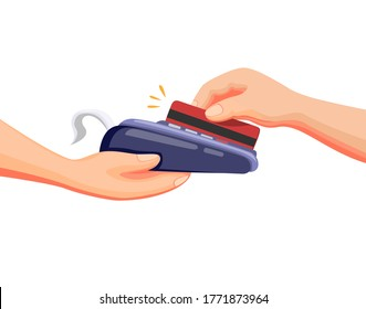 Credit or debit card transaction to payment in drive thru or market shop in cartoon illustration vector on white background