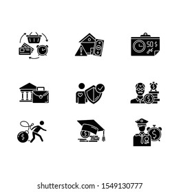 Credit glyph icons set. Borrowing from retirement. Student loan debt. Paying for university education. Revolving credit. Heavy credit card risk. Silhouette symbols. Vector isolated illustration