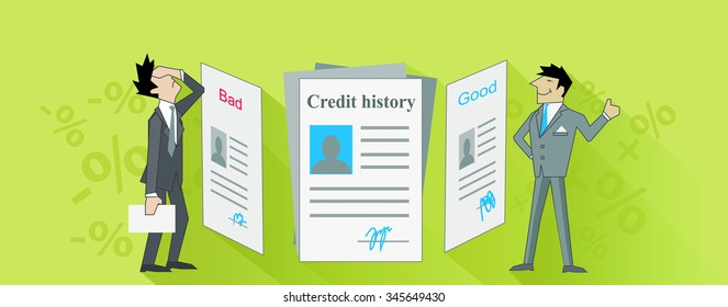 Credit istory bad and good. Finance score, business loan or debt, excellent budget, banking report, rating mortgage illustration