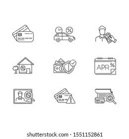 Credit linear icons set. APR report. Plastic credit card. Insurance program. Home, car loan. Borrow cash, money. Thin line contour symbols. Isolated vector outline illustrations. Editable stroke