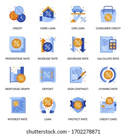 Credit and loan icons set in flat style. Home loan, mortgage graph, credit card and deposit, consumer credit, sign contract and calculate rate signs. Banking service pictograms for UX UI design.