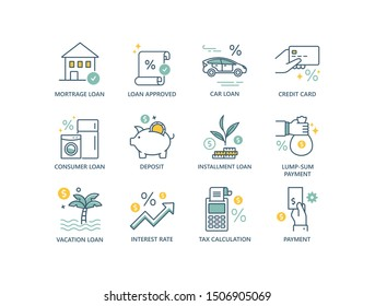 Credit and loan related colored line icons with mortgage, car, tax calculation, lump-sum payment, interest rate, personal business.