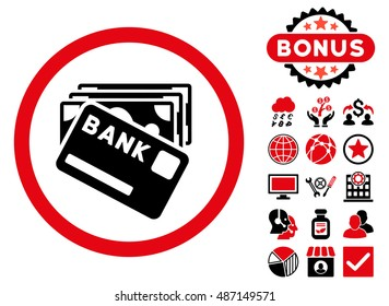 Credit Money icon with bonus design elements. Vector illustration style is flat iconic bicolor symbols, intensive red and black colors, white background.