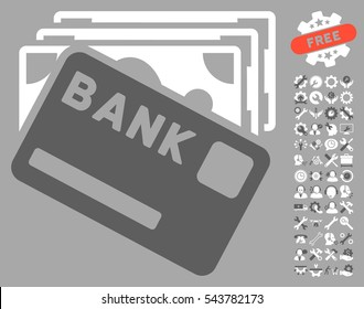 Credit Money icon with bonus tools graphic icons. Vector illustration style is flat iconic bicolor symbols, dark gray and white colors, silver background.