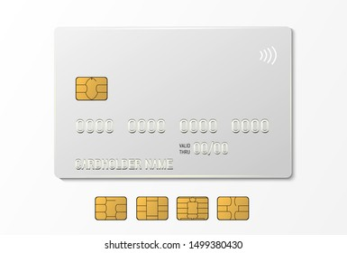 Credit plastic card with emv chip. Contactless payment